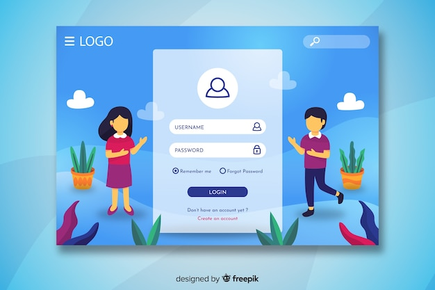 Login landing page with characters