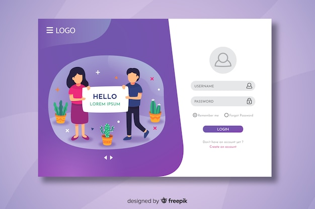 Login landing page with hello text