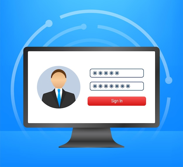 Login page on laptop screen. notebook and online login form, sign in page. user profile, access to account concepts. vector illustration.