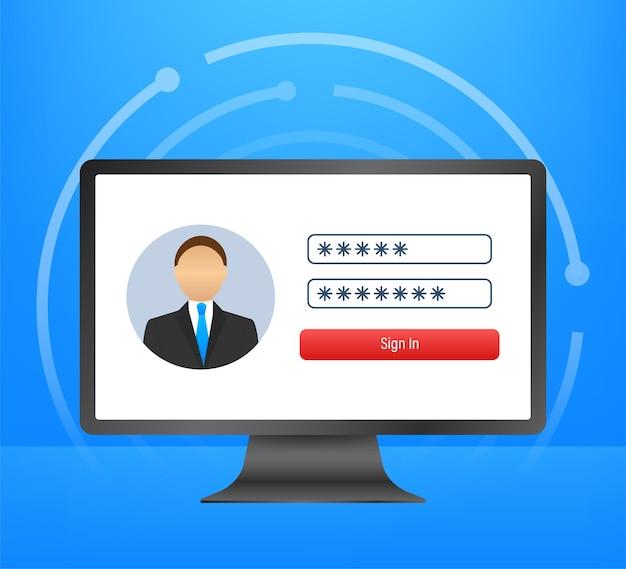 Страница входа на экране ноутбука. записная книжка и онлайн-форма входа, страница входа. профиль пользователя, доступ к концепциям учетной записи. векторная иллюстрация.