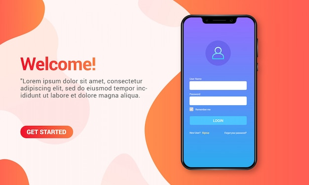 Login page on realistic mobile mockup, landing page with smartphone