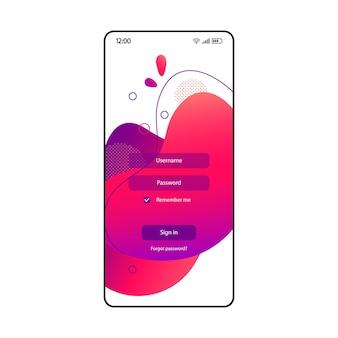 로그인 페이지 스마트폰 인터페이스 벡터 유체 템플릿입니다. 암호 및 사용자 이름 필드가 있는 모바일 앱 분홍색 및 보라색 그라데이션 디자인 레이아웃. 거품이 있는 휴대폰 인증 화면입니다. 전화 디스플레이
