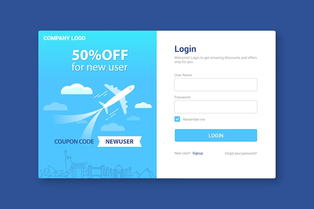 Login page template, sign in landing page
