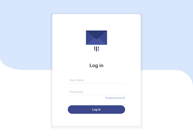 Login pop up landing page template form with letter in envelope in flat design