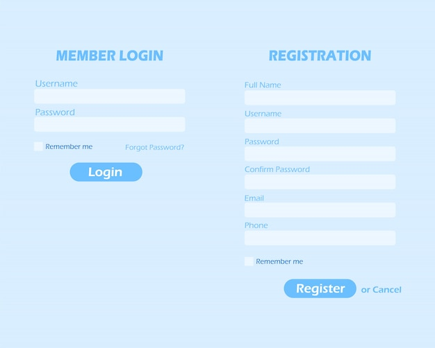 Login and registration page. member login and registration form.