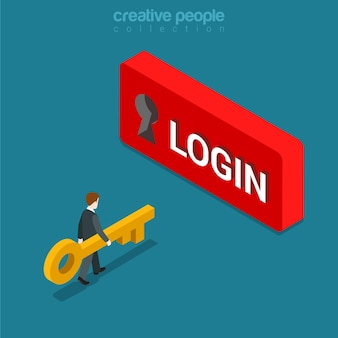 Login sign in button flat isometric