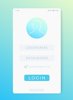 Login, sign in form, mobile interface