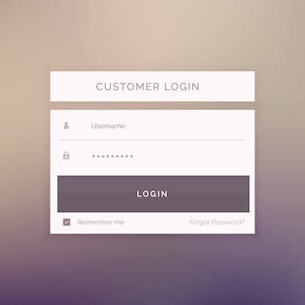 Login template on a blurred background