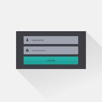 Design piatto scuro interfaccia di dialogo di accesso con l'ombra