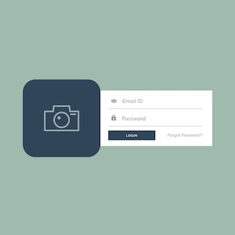Login template with photo space