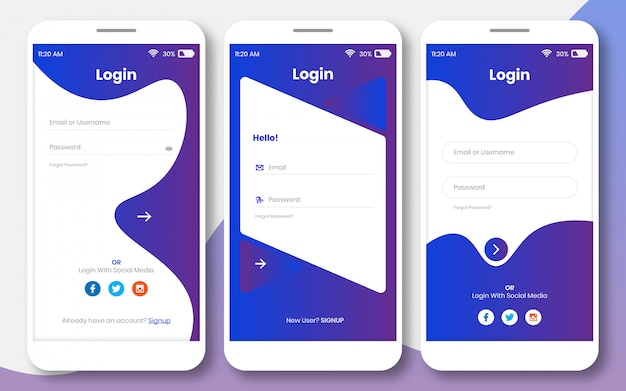 Login ui kit for any app or sign in page design template