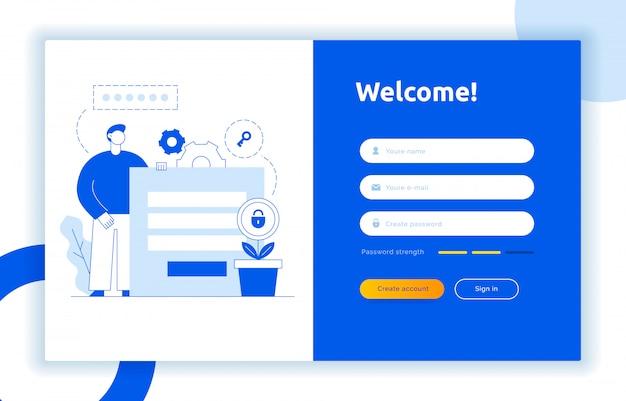 Логин ui ux дизайн концепции и иллюстрации