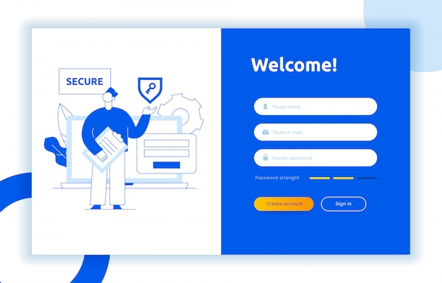 Login ui ux design concept and illustration