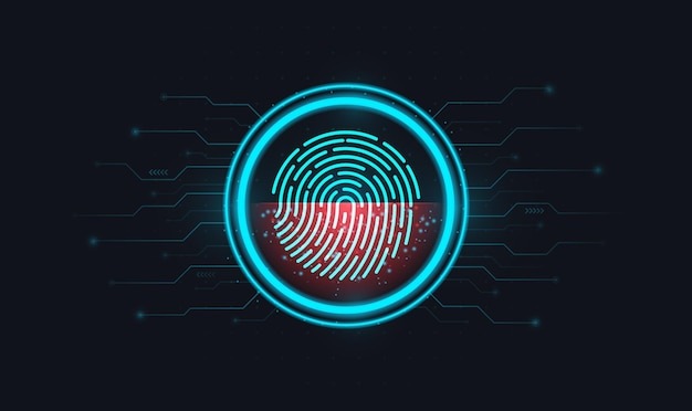Login using fingerprint identification with a print inside a circle on an electronic screen