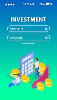 ユーザー名とパスワードのコイン図と人のフィールドを含むログインwebフォーム。投資コンセプト