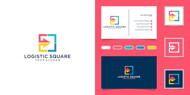 Logistic abstract logo with arrows and business card inspiration