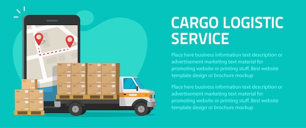 Logistic cargo mobile courier online flyer poster template mockup design for freight delivery shipping