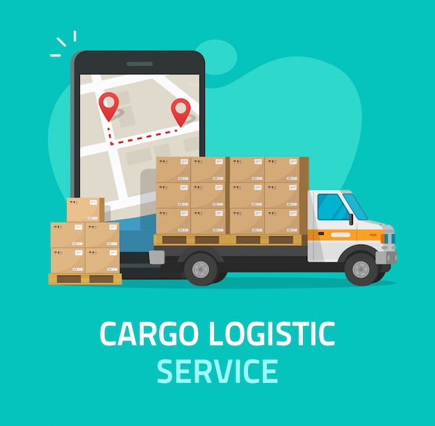 Logistic cargo shipping courier or freight delivery service transportation via mobile phone smartphone vector