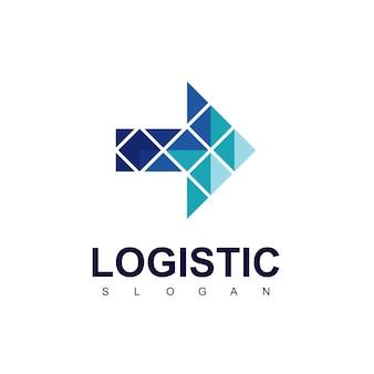 Logistic company logo with blue arrow symbol