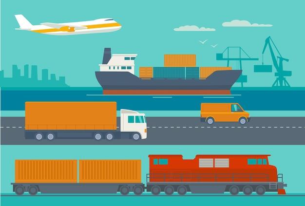 工場から店舗までのロジスティックコンセプトフラットバナーの製造プロセス倉庫の船のトラックと車