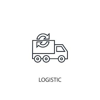 Значок линии логистической концепции. простая иллюстрация элемента. логистическая концепция наброски символ дизайн. может использоваться для веб- и мобильных ui / ux
