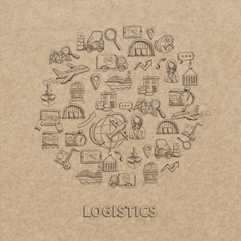 Logistic concept with sketch delivery and shipping decorative icons on paper background vector illustration