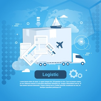 Logistic delivery business template web banner with copy space