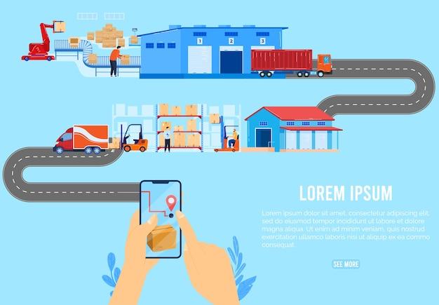 ロジスティックデリバリーチェーンサプライコンセプトベクトルイラスト。注文小包ボックスにスマートフォンを使用して漫画の平らな人間の手、宅配トラックの背景で商品のパッケージを配信する販売会社
