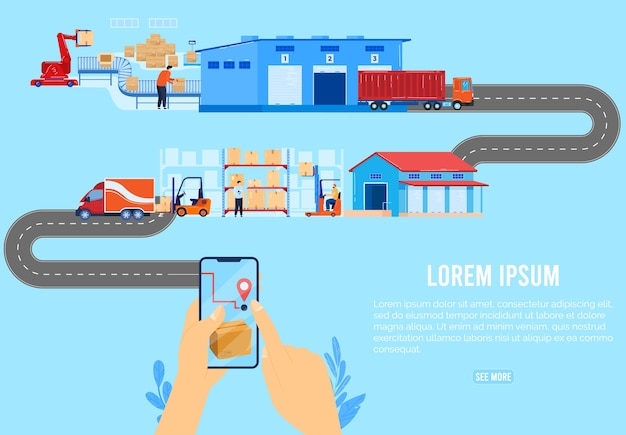 Logistic delivery chain supply concept vector illustration. cartoon flat human hand using smartphone for order parcel box, distributor company delivering packaging of goods by courier truck background
