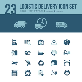 Logistic delivery icons set