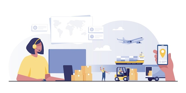 Logistic and delivery service typographic header concept. air freight and logistic industry. transportation service concept.