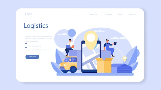 Logistic and delivery service web banner or landing page. idea of transportation and distribution. loader in uniform delivering a cargo. transportation service concept. isolated flat illustration