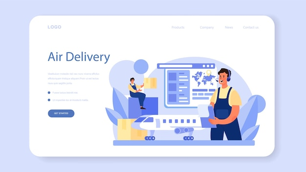 Logistic and delivery service web banner or landing page. isolated flat illustration