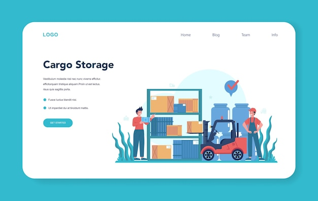 Logistic and delivery service web banner or landing page.