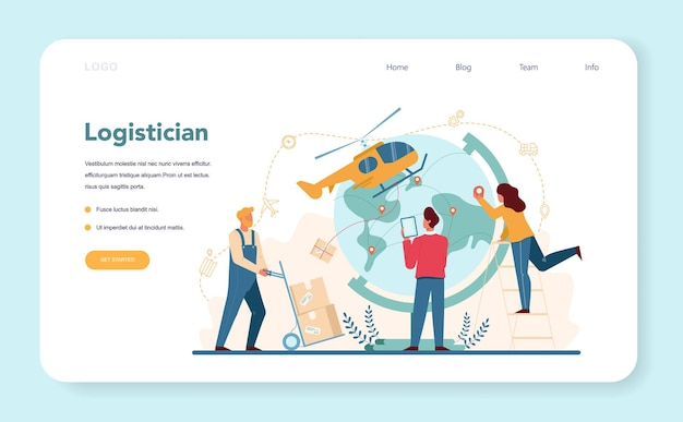 Logistic and delivery service web template or landing page. idea of transportation and distribution. transportation service. isolated flat illustration