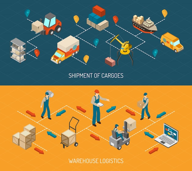 Logistic delivery and warehouse banners set