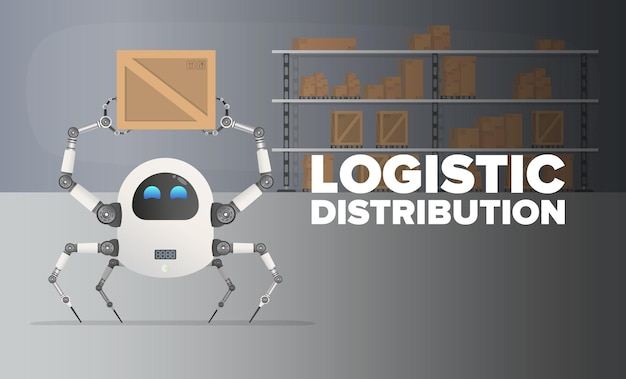 ロジスティック分布。ロボットが倉庫の箱を拾います。木製の箱と段ボール箱のある大きな倉庫。