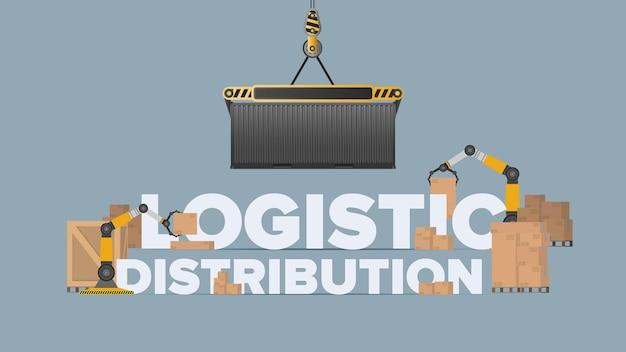 ロジスティック分布バナー。クレーンが貨物コンテナを持ち上げます。産業をテーマにしたレタリング。カートンボックス。貨物と配達のコンセプト。ベクター。