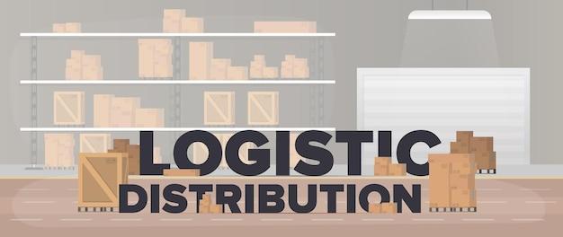 Баннер логистической дистрибуции. большой склад с ящиками и поддонами. надпись на индустриальную тему. картонные коробки. концепция перевозки и доставки. вектор.