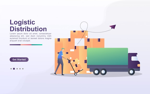 Logistic distribution illustration concept with tiny people. couriers put boxes in cars, goods are ready to be distributed throughout the world.