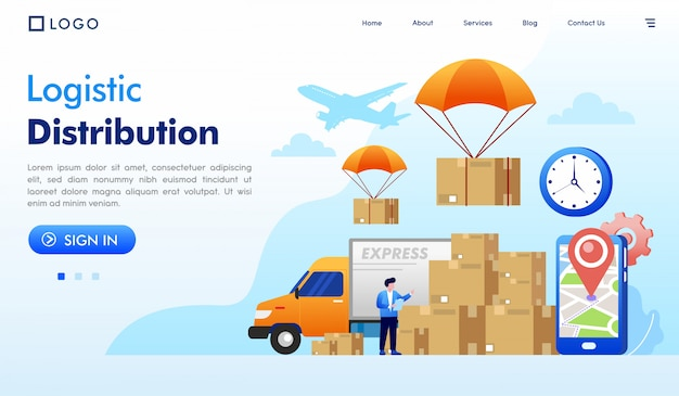 Logistic distribution landing page website illustration vector