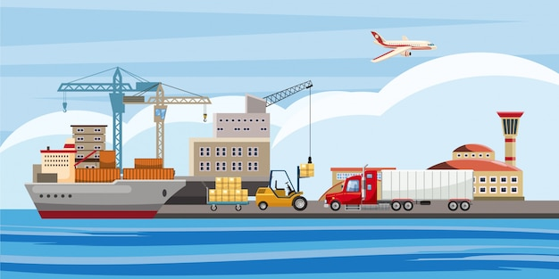 Logistic horizontal background, cartoon style