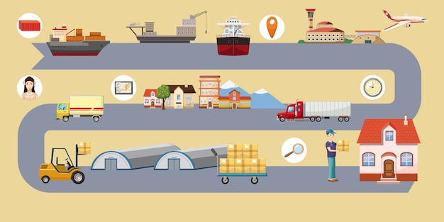 Logistic horizontal background route, cartoon style