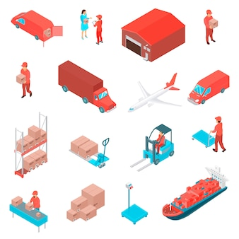 Logistic isometric icons set