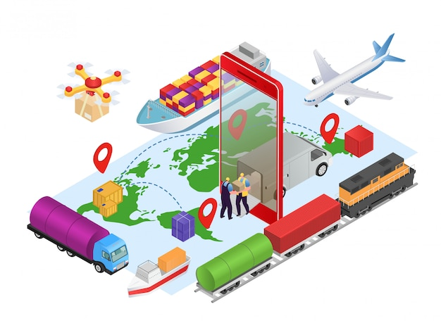 Логистические изометрические онлайн, служба доставки бизнес-грузов на иллюстрации концепции карты. доставка интернет-технологий, отслеживание грузов на грузовиках. люди курьерского характера с коробкой.