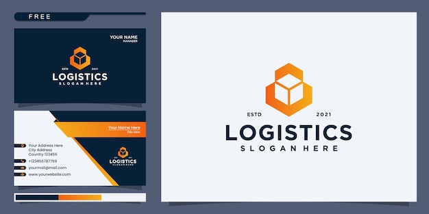 Logistic logo, arrow design logo template, vector illustration. logo design and business card