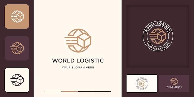 Logistic logo, globe and box combine logo