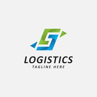 Logistic logo letter g s and arrow combination flat style logo design template vector