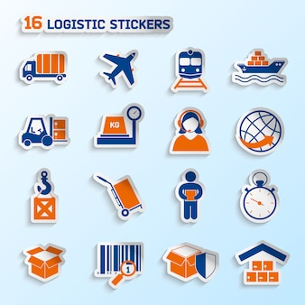Logistic package transportation global urgent delivery stickers elements set vector illustration