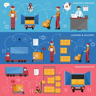 Logistic process infographics vector illustration